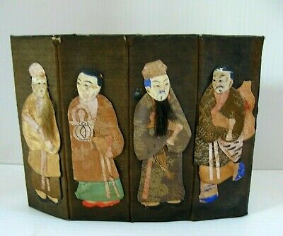 Vintage Chinese Octagonal Folding Box, 8 Immortals on Silk, Hand Made