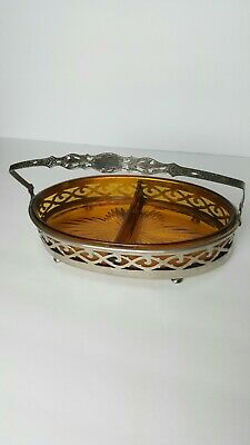 RARE STARBURST Cut Glass Mid Century Modern Amber Art Silver Plated Caddy MCM
