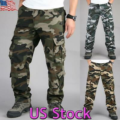 Mens Camo Combat Tactical Cargo Army Military Work Pants Camouflage Trousers USA
