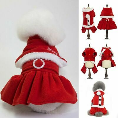 UK Christmas Pet Puppy Dog Cat Santa Claus Costume Outfits Hoodie Fancy Dress