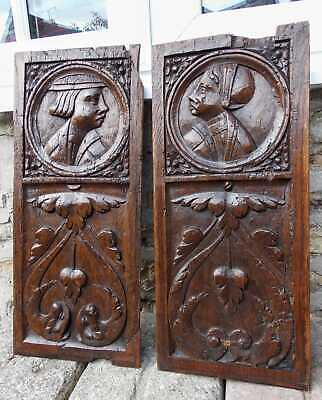 Good Pair Of Early 16th Century Carved Oak Romayne Marriage Panels c1530