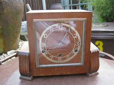 Vintage BENTIMA Art Deco Wooden Chiming Mantel Clock, Made in England