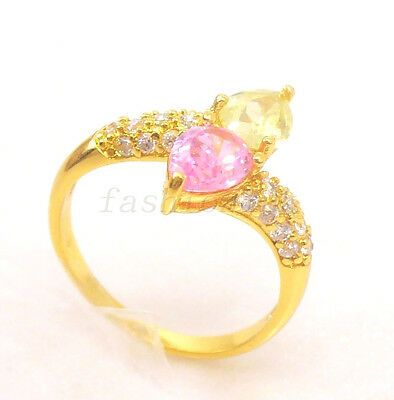 Women Lady New 24K Yellow Gold Plated Pink CZ Cubic Zirconia Engagement Ring O M