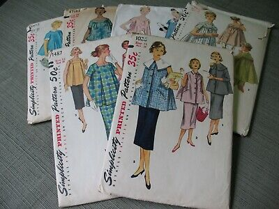LOT Vintage SEWING PATTERNS 1950's MISSES' MATERNITY Dress SKIRT Top COMPLETE