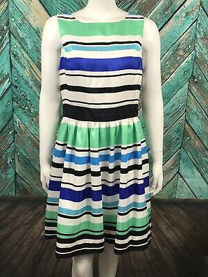Red Saks Fifth Avenue Women's Fit & Flare Dress 12 Striped Lined Sleeveless Zip