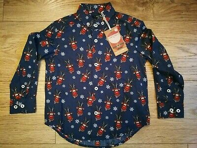 BNWT Next Boys Christmas Party Formal Navy Long Sleeve Shirt - 3 Years