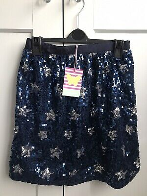 John Lewis Girls All Over Sequin Stars Fully Lined Skirt Navy Silver Age 12 New