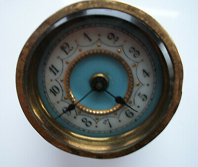 Vintage Working Porcelane And Brass Clock To Fit In Clock Case