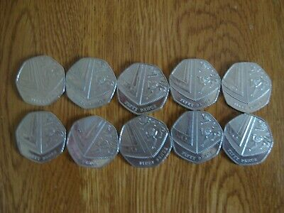 10x Rare 50p Fifty Pence - Shield of Royal Arms 2017 Circulated