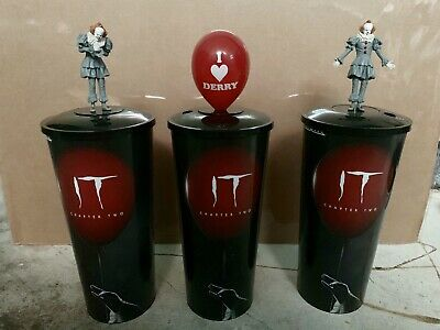 IT Chapter 2 Cinemark Movie Theater Collector Cup W/ Topper Pennywise SET of 3