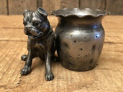 Antique Original Derby Silver Co. Plated Glass Eyes Bulldog Toothpick Match Hold