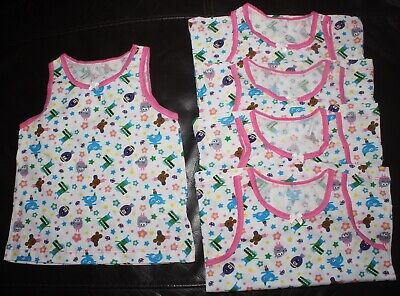 5 x Girl's HEY DUGGEE Vests -100% Cotton  Sizes 18-24 Months, 2-3 or 3-4 Years