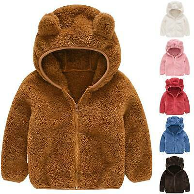 Kids Baby Toddler Boys Girls Fleece Teddy Bear Coat Hoodies Winter Hooded Jacket