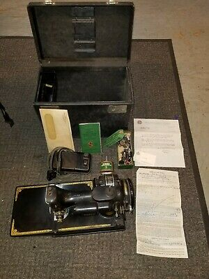 Vintage Singer Scroll Featherweight 221-1 Sewing Machine w/Case & Accessories