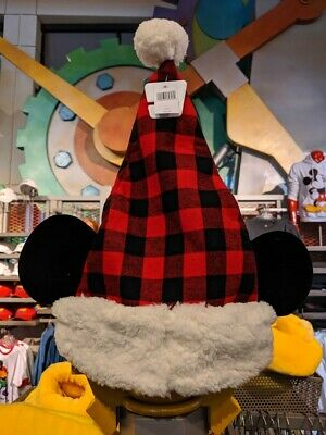 New Release! Disney Parks Christmas Mickey Mouse Flannel Pattern Santa Hat