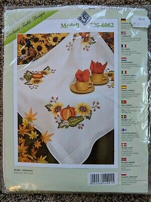 Fall Pumpkins Sunflowers Tablecloth Kit to Embroider - Sealed