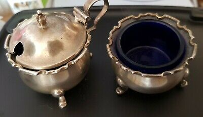 Maplin & Webb Mustard And Sugar Pots With Blue Glass Liners. 62.7g.