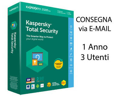 Kaspersky Total Security 2019 2020 3 UTENTI 1 Anno Originale licenza elettronica