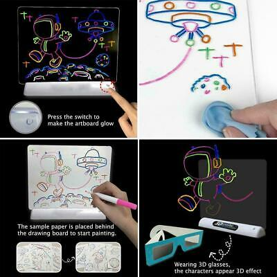 3D Magic Drowing Pad Draw With Light Fun And Developing Drawing Board Toy R4P9