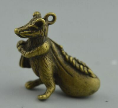 China Collectable Handwork Copper Carve Mice Carry Bag Exorcism Noble Pendant