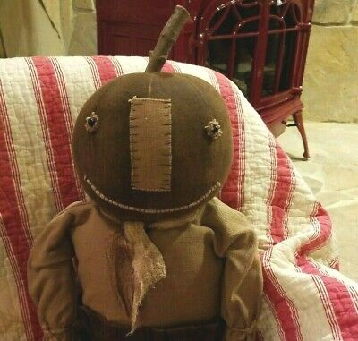 Primitive Style Hand Made Pumpkin Head Doll ~ PRIM FALL/HALLOWEEN DECOR