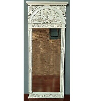 Solid Mahogany French Chateau Style Antique White Carved Large Tall Mirror