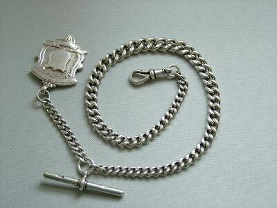 Double Albert Antique Solid silver heavy pocket watch chain.