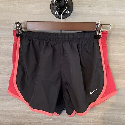 Nike Dri-Fit Youth Girls Lined Shorts Grey Pink  Size Large Running Athletic