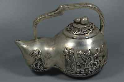 China Collection Handwork Miao Silver Carve West Travel Buddha Special Tea Pot
