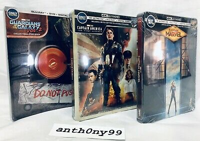 Captain Marvel, Guardians Of The Galaxy Vol 2 & Captain America Steelbook Sealed