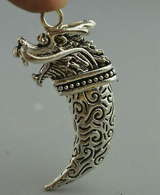 China Collectable Handwork Miao SIlver Carve Totem Dragon Amulet Noble pendant
