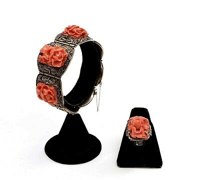 Chinese Sterling Silver Filigree Coral Carved Carving Floral Bracelet & Ring Mk