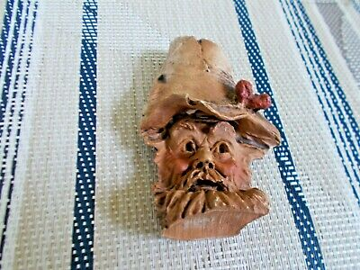 Wood spirit mountain hillbilly man mini face carving in wood signed Burgess 1989