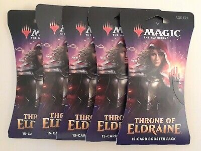 MTG Magic the Gathering THRONE of ELDRAINE LOT of 5 SEALED Booster Blister PACKS