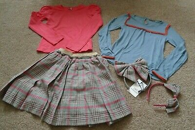 No Added Sugar ilovegorgeous bundle plaid skirt 2 tops 2 headbands 9-10