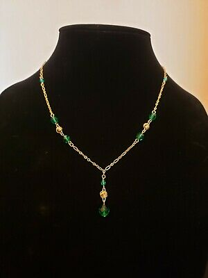 Art Deco Style Faceted Emerald Czech Glass Love Knot Lavaliere Necklace