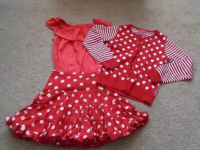 Mim Pi bundle red spot polka dot skirt cardigan perfect Minnie Disney! 10 140