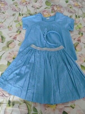 No Added Sugar Button Up top Gloria skirt bluebell dobby 9-10 Bow headband