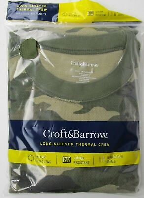 NEW Croft & Barrow Green Camo Long Sleeved Thermal Crew  FREE SHIPPING