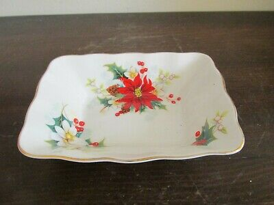 Vintage Royal Albert Poinsettia Bone China England  Trinket Dish