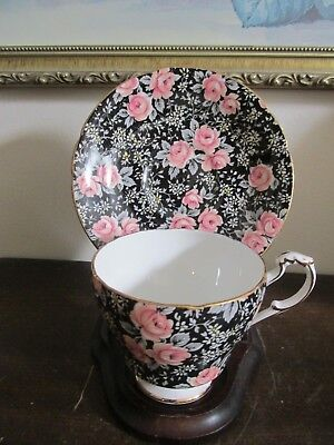 Paragon England Bone China Cup And Saucer Black Roses Chintz Floral