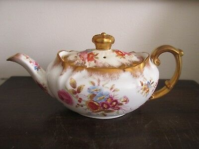 Vintage Hammersley England Porcelain Teapot Heavy Gold Flowers Rose