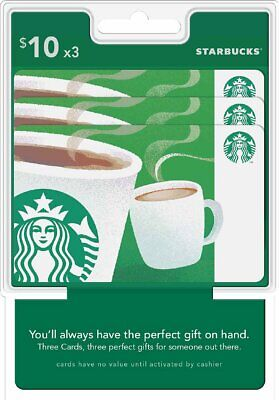 Starbucks Gift Card $30 Email Delivery Send $10 x 3 OR $15 x 2 Cards $5 and $25
