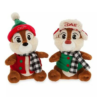 "Disney Parks Authentic Chip 'N Dale 2019 Holiday Plush 13"" H Yuletide Farmhouse"