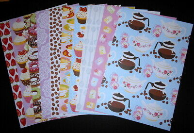 A4 Patterned Papers ~ CAFE x 10 ~ Scrapbooking/Cardmaking/Papercrafts