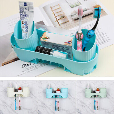 Makeup Toothbrush Holder Cup Organizer Storage Rack Bathroom Shelf