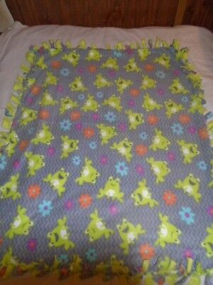 Blanket ~ Colorful & Cute Frog & Flowers  Hand Tied Double Sided Fleece Rag~New