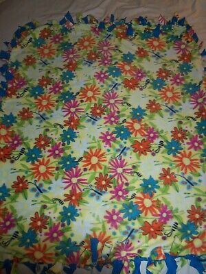 Blanket~Colorful Spring Rainbow Flowers Hand Tied Double Side Fleece Blanket~New