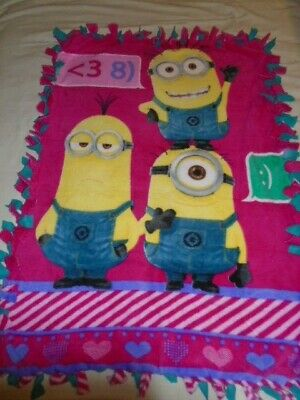 Blanket~Despicable Me Yellow Minions Hand Tied Double Side Fleece Blanket~New