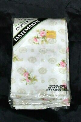 Vintage TASTEMAKER KING Pillowcases Floral Roses No Iron Percale PAIR NEW